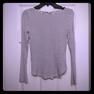 Long sleeve black and white striped tee